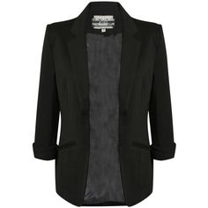 EVA OPEN FRONT BLAZER IN BLACK ($54) ❤ liked on Polyvore featuring outerwear, jackets, blazers, tops, black jacket, open front blazer, black blazer and open front jacket