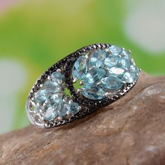 Madagascar Paraiba Apatite and Black Diamond Ring in Platinum Overlay Sterling Silver (Nickel Free)