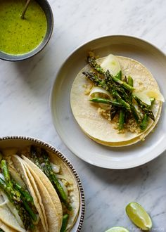 Roasted Asparagus and Quinoa Tacos with Spicy Avocado-Cilantro Sauce