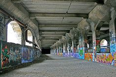 The one pictured above is the Rochester Subway, a long-abandoned system that still remains fairly intact today