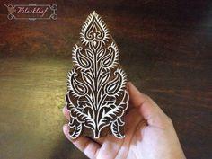 Wood Block Printing Hand Carved Indian Wood Textile Block Stamp Paisley Flower