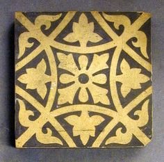"Craven Dunnill dust-pressed encaustic tile, four-fold foliate design in neo-gothic style, two colour, 4"" square, c1890. Designs such as this were much used on domestic pathways and halls."
