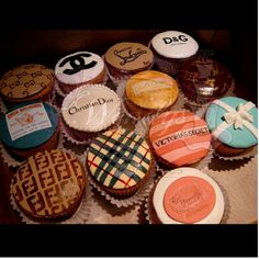 Designer inspired cupcakes! How cute!! (D, True Religion, Coco Chanel, Louis Vitton, Tiffany's, Burberry, Christian Dior, etc.)