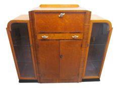 ART DECO 1930's WALNUT SIDE BY SIDE COCKTAIL CABINET Art Deco Furniture, Vintage Furniture, Drinks Cabinet, Bar Drinks, 1930s, Locker Storage, Cocktails, House Design, Retro