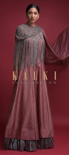 Mauve Pink Anarkali Suit In Cotton Silk With Silver Shimmer Frill And Fringe Cape Online - Kalki Fashion Wedding Salwar Kameez, Anarkali Suits, Cotton Silk, Indian Wear, No Frills, Lehenga, Mauve, Neckline, Sari