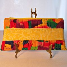 Clutch Purse Small Colorful Cats Purse Yellow Red Blue Green Kitty | kathisewnsew - Bags & Purses on ArtFire