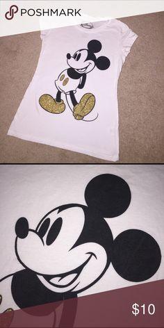 Womans Mickey glitter shirt Black has a littler wear, but super cute gold accents Disney Tops Tees - Short Sleeve