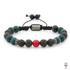 Hidden Coral Beaded Men Bracelet #black #coral #green #lava #men #red #silver #tigerseye #bracelet #menstyle