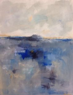 Blue Abstract Ocean Seascape Painting Blue Grey by lindadonohue, $375.00