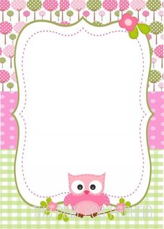 New Baby Shower Invitaciones Buhos Ideas Borders For Paper, Borders And Frames, Owl Invitations, Owl Classroom, Class Decoration, Paper Frames, Binder Covers, Note Paper, New Baby Products
