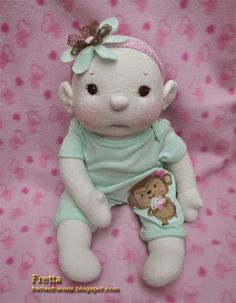 "Fretta: Fretta's Textile BeBe Doll, Fair Skin-Brown Eyes Bald Baby. 40.6 cm / 16"" non-jointed Soft Sculpture Baby Girl. Child Friendly Cloth Doll."