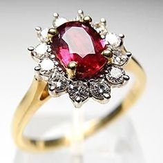VINTAGE RUBY & DIAMOND ENGAGEMENT RING SOLID 18K GOLD but with a silver band. Me no likey the gold