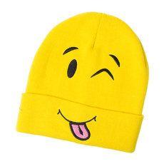Yellow Emoji Knit Beanie Hat