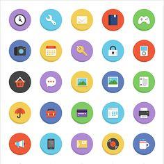 フラットデザインで表現された可愛い日用品のベクターアイコンセット Icon Design, Layout, Logo, Logos, Page Layout, Environmental Print