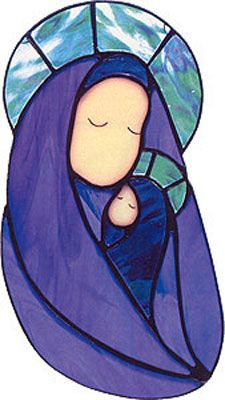 Holiday Magic in Glass Virgin Mary with baby Jesus Stained Glass Christmas, Faux Stained Glass, Stained Glass Projects, Stained Glass Patterns, Christmas Art, Catholic Art, Religious Art, Immaculée Conception, Mary And Jesus