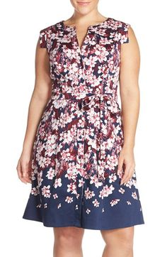 Adrianna Papell Floral Print Fit & Flare Shirtdress (Plus Size)