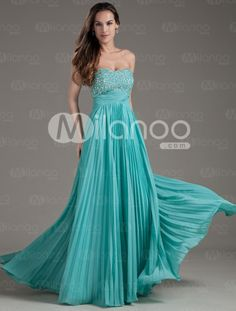 Turquoise Silk-like Satin/ Crepe Chiffon Sweetheart Empire Sleeveless Prom Dresses -Wedding & Events-Special Occasion Dresses-Prom Dresses Girls Evening Dresses, Pink Evening Dress, Evening Dresses With Sleeves, Chiffon Evening Dresses, Evening Gowns, Affordable Prom Dresses, A Line Prom Dresses, Cheap Prom Dresses, Homecoming Dresses