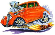 Cartoon Muscle Cars   Details about 1933-36 Willys Muscle Car Art Cartoon Tshirt FREE
