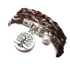 Braided Satin and Chain Wrap Bracelet with Tree of Life