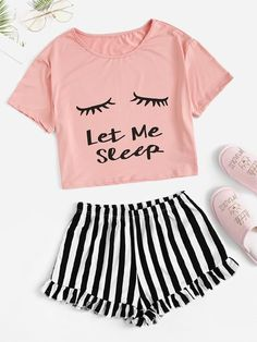 Eye and Letter Top & Ruffle Striped Shorts PJ Set - Summer Outfits Pajama Outfits, Lazy Outfits, Teen Fashion Outfits, Teenager Outfits, Trendy Outfits, Fashion Models, Kids Outfits, Summer Outfits, Cute Outfits