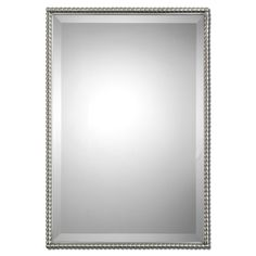 Sherise Brushed Nickel Bead Framed Beveled Mirror - Overstock™ Shopping - Great Deals on Mirrors