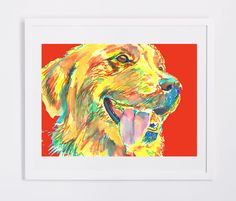 Golden Retriever art print signed Yellow Red home decor, dog art, puppy,Abstract dog portrait print Golden Retriever gift… #dogs #etsy #art