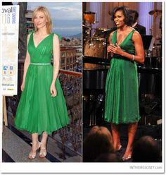 Cate Blanchett & Michelle Obama wearing an emerald green chiffon silk dress
