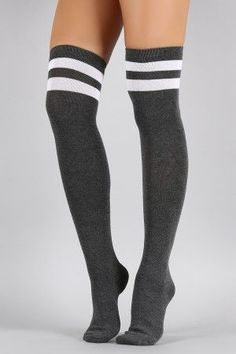 Double Stripe Thigh High Socks, I'd wear this for my man Striped Thigh High Socks, Gothic Leggings, Camouflage Leggings, Cute Socks, Leggings Fashion, Thigh Highs, Knee Highs, Thighs, Stockings