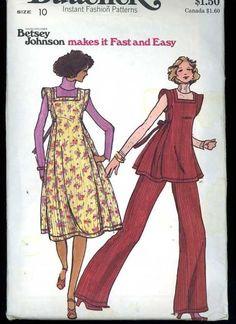 1970s Butterick 4427 Betsey Johnson Pattern Flare Jumper/Top Flared Pants B 32