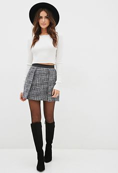 Bouclé & Faux Leather Skirt | FOREVER21 - 2000120844