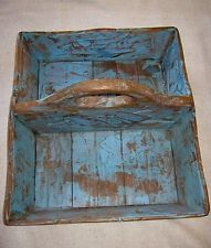 Old Primitive Robins Egg Blue Tote/Carrier-Canted Sides-Handle-Pine