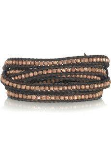 CHAN LUU . 14-karat rose gold-vermeil and leather five-wrap bracelet