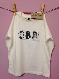 T-shirt bimbo stampa 3 gatti