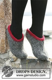 Winter Sprite - felted slippers in DROPS Eskimo. : Winter Sprite – felted slippers in DROPS Eskimo. Size – Free pattern by DROPS Design Drops Design, Felted Slippers Pattern, Knitted Slippers, Knitting Patterns Free, Free Knitting, Free Pattern, Crochet Patterns, Pattern Ideas, Knitting Ideas