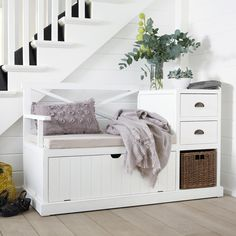 Mueble de entrada de madera blanco An. 135cm | Maisons du Monde