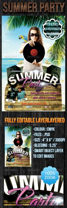 """Summer Party Flyer  #GraphicRiver        Summer Party Flyer    Free Fonts used :    Colour : CMYK    Files : .psd    Size : 4"""" x 6"""" / 300dpi    Bleeding : 0.25""""    Fully layered    Smart object layer to edit images    Images used are not included. Free Fonts    Free Download,Neogrey   Free Download,Badaboom-BB   Free Download,Stencil Std   Free Download,Bebas Neue   Image  Image Download      Created: 31March13 GraphicsFilesIncluded: PhotoshopPSD Layered: Yes MinimumAdobeCSVersion: CS3…"""