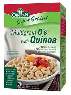 CEREALES O'S CON QUINOA SIN GLUTEN 300 GR ORGRAN Los cereales SIN GLUTEN ideales para el desayuno remojados con leche o yogur que te darán energía para todo el día con un alto nivel de aminoácidos y proteínas.