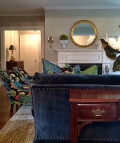 Traditional meets contemprary living room designed by Erika Ward.