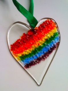 Frit rainbow fused glass heart by NeekyRabbit, via Flickr