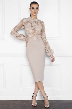 Go from day to night in flawless style in the stunning Floral Bishop Sleeve Fitted Midi Cocktail Dress by Nicole Bakti. This elegant number features a high neckline long bishop sleeves a covered back a fitted silhouette and a midi length. Trendy Dresses, Sexy Dresses, Beautiful Dresses, Nice Dresses, Evening Dresses, Fashion Dresses, Prom Dresses, Formal Dresses, Skater Dresses