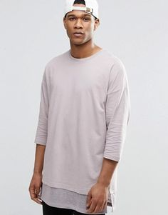 ASOS Oversized Long Sleeve T-Shirt With Knitted Hem Panel