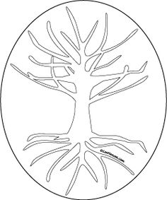 Tree of Life drawing, printable craft template or adult coloring page, LeeHansen.com