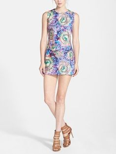 The psychedelic print on this sheath dress is fun!