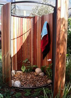 Enjoy your yard even more with a DIY outdoor shower! DIY outdoor projects like this add such value to your home over time! Outdoor Bathrooms, Outdoor Rooms, Outdoor Gardens, Outdoor Living, Outdoor Decor, Outdoor Baths, Rustic Outdoor, Outdoor Ideas, Outdoor Privacy