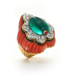 David Webb New York | Couture - Paisley Ring - Emerald bead, cabochon rubies, brilliant-cut diamonds, carved coral, black enamel, 18K gold, and platinum