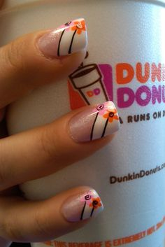 i am calling this one Dunkin Daisies!! Made for Erika L from Modern Tan, Salem NH 280 main street ! nails done by A Touch of Joy  Salon by Alicia