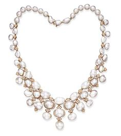 Van Cleef and Arpels, necklace designed as an articulated fringe of baroque cultured pearls, with circular-cut diamond detail, joined by similarly-set navette-shaped links, to the baroque cultured pearl backchain of later addition, mounted in 18k gold