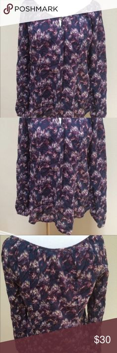 """Lucky Brand Blue Graphic Cotton Boho Shirt Top Lucky Brand Blue Graphic Cotton Boho Shirt Top Women's Size Medium. Excellent condition! Oversized. Very clean and comes from smoke free home. Questions welcomed! Armpit to armpit: 19.5"""" across Length: 24.5"""" Lucky Brand Tops Blouses"""