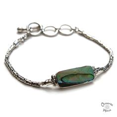 Delicate Abalone Bracelet with Ornate Silver Chain