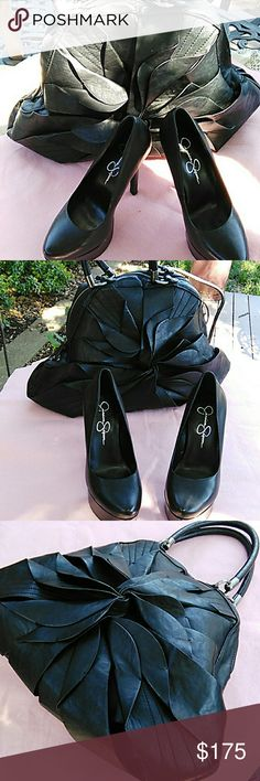 Jessica simpson handbag and shoes Beautiful set: flower handbag and matching stiletto heels, soft black leather, purse has long carry strap.  No stains, holes or visible defects, both are like new.  Non smoking home.  Make an offer. Jessica Simpson Accessories